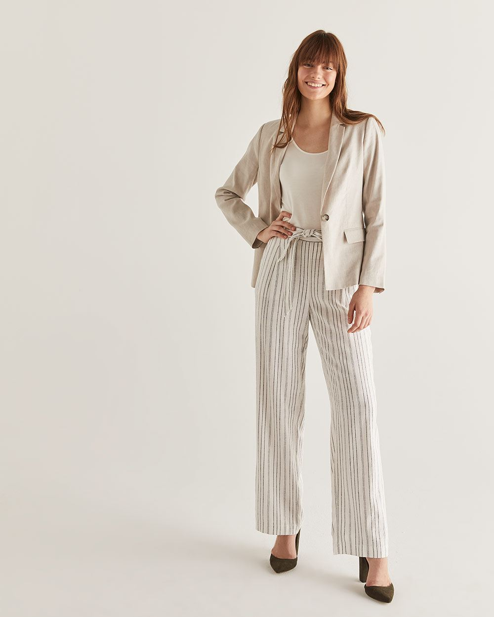 Linen-Blend Wide Leg Stripe Pants - Petite