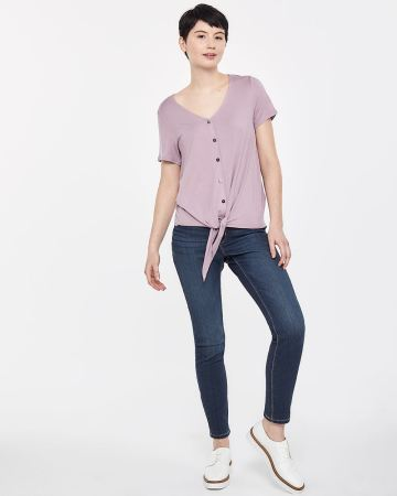 Button Down Tee with Knot