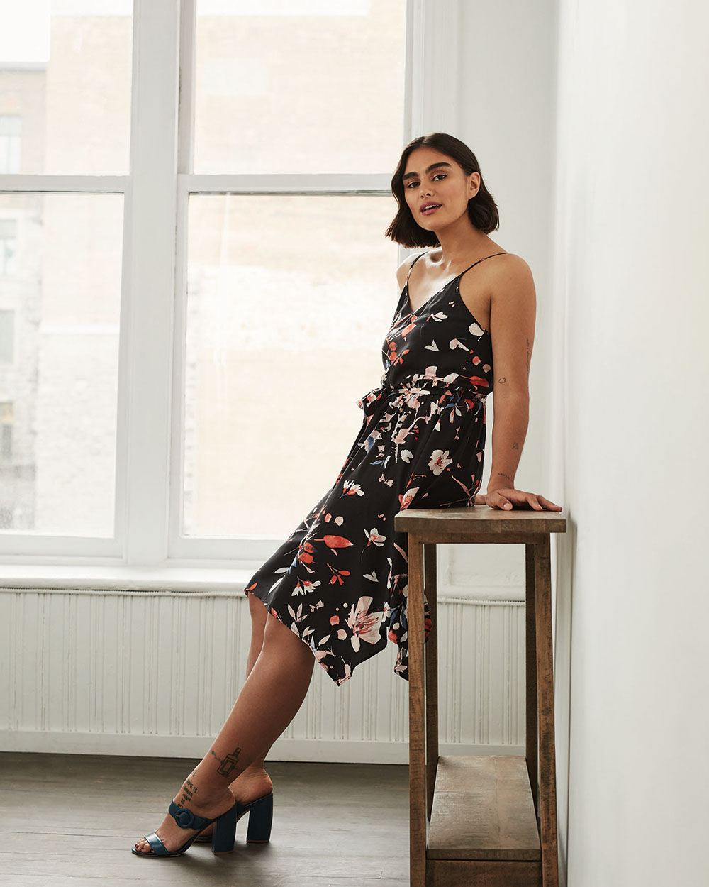 Sleeveless Printed Midi Dress with Handkerchief Hem