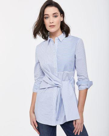 78823c4f76d ... Long Sleeve Crepe Shirt · Tie-Front Stripe Tunic
