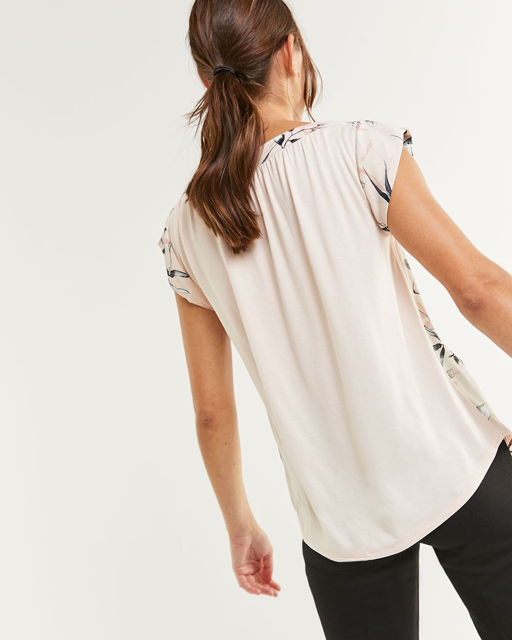 Short Sleeve Boat Neck Printed Mix Media Tee