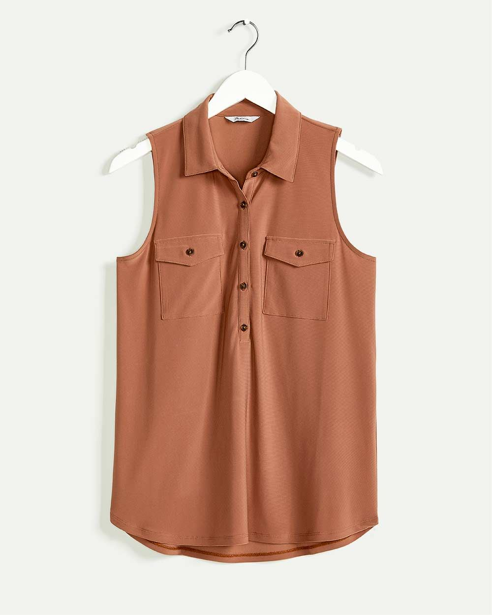 Sleeveless Polo Collar Top with Pockets