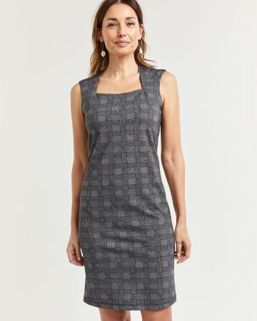 Sleeveless Plaid Square Neck Dress
