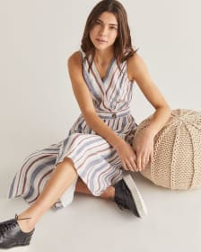 Linen-Blend Striped Wrap Dress