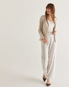 Linen-Blend Wide Leg Stripe Pants - Tall