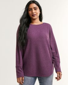 Long Dolman Sleeve Boat Neck Ribbed Sweater