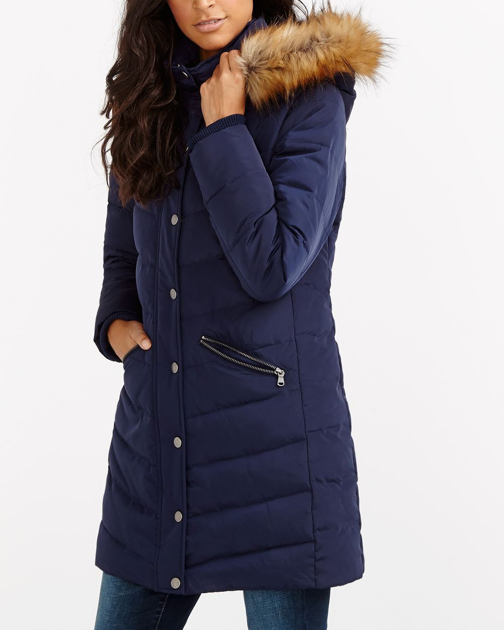 removable hood down winter coat women reitmans. Black Bedroom Furniture Sets. Home Design Ideas