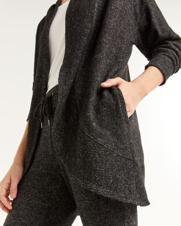 Hyba Brushed Knit Open Cardigan with Ribbed Hem
