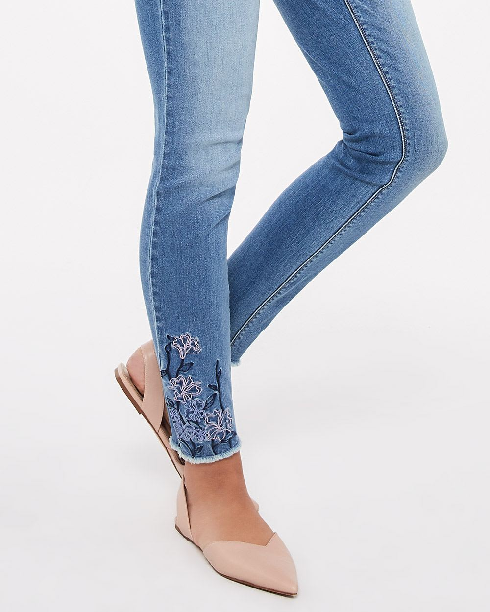 Tall Embroidered Light Wash Skinny Jeans