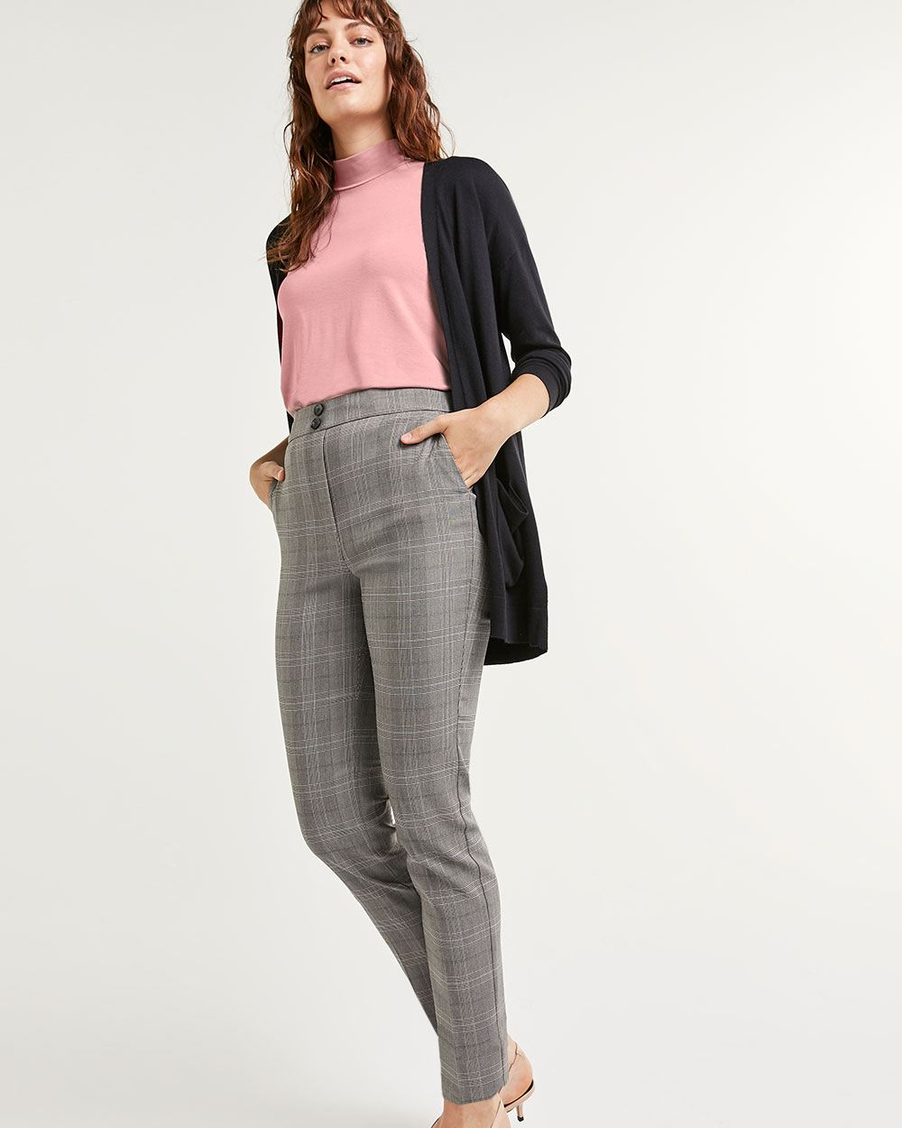 Super High Rise Slim Glen Plaid Pull On Pants The Iconic