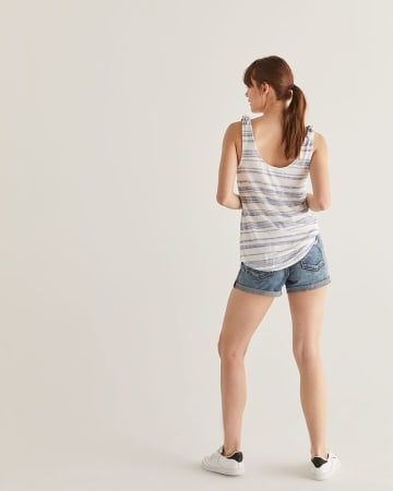 Stripe Knotted Shoulder Tank Top