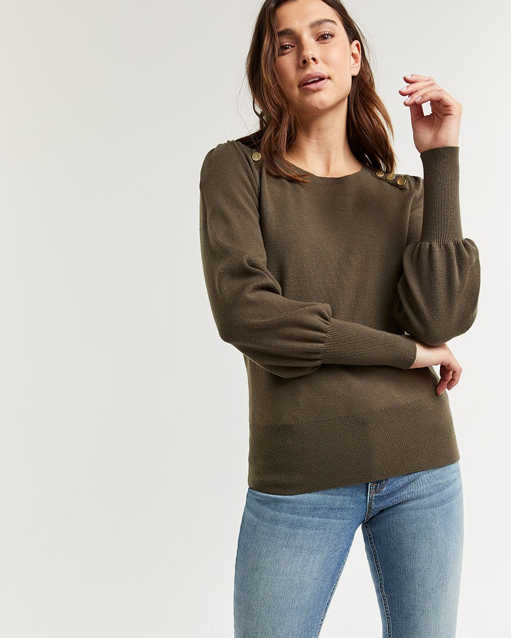 Puff Sleeve Sweater with Buttons at Shoulders