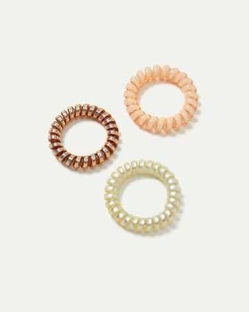 3-Pack Iridescent Spiral Hair Ties