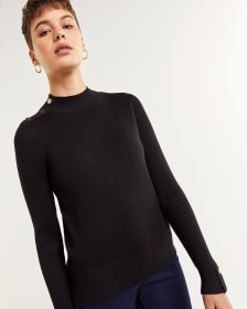 Long Sleeve Mock Neck Sweater with Snap Buttons