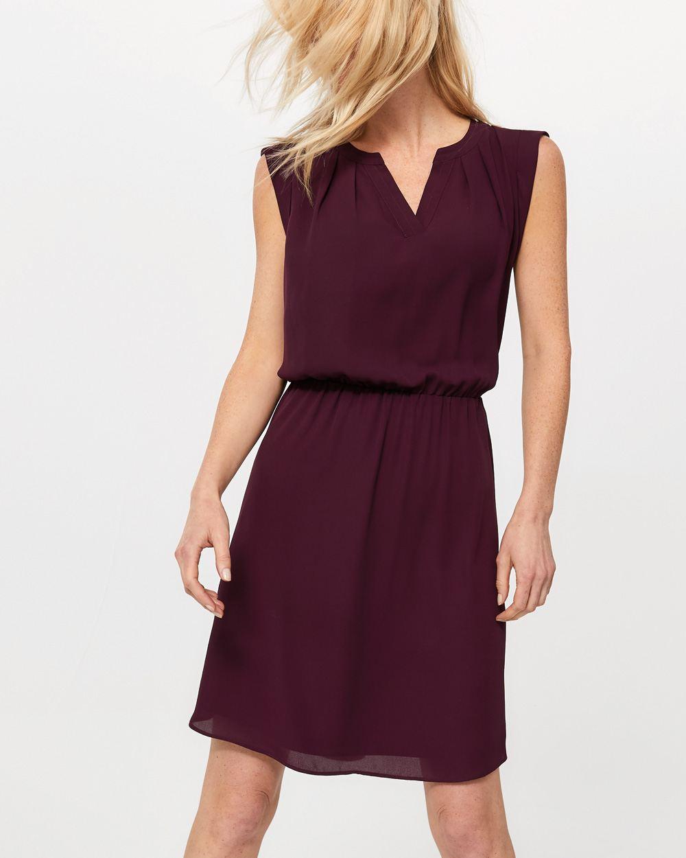 970cfd870f1 Sleeveless Elastic Waist Solid Dress