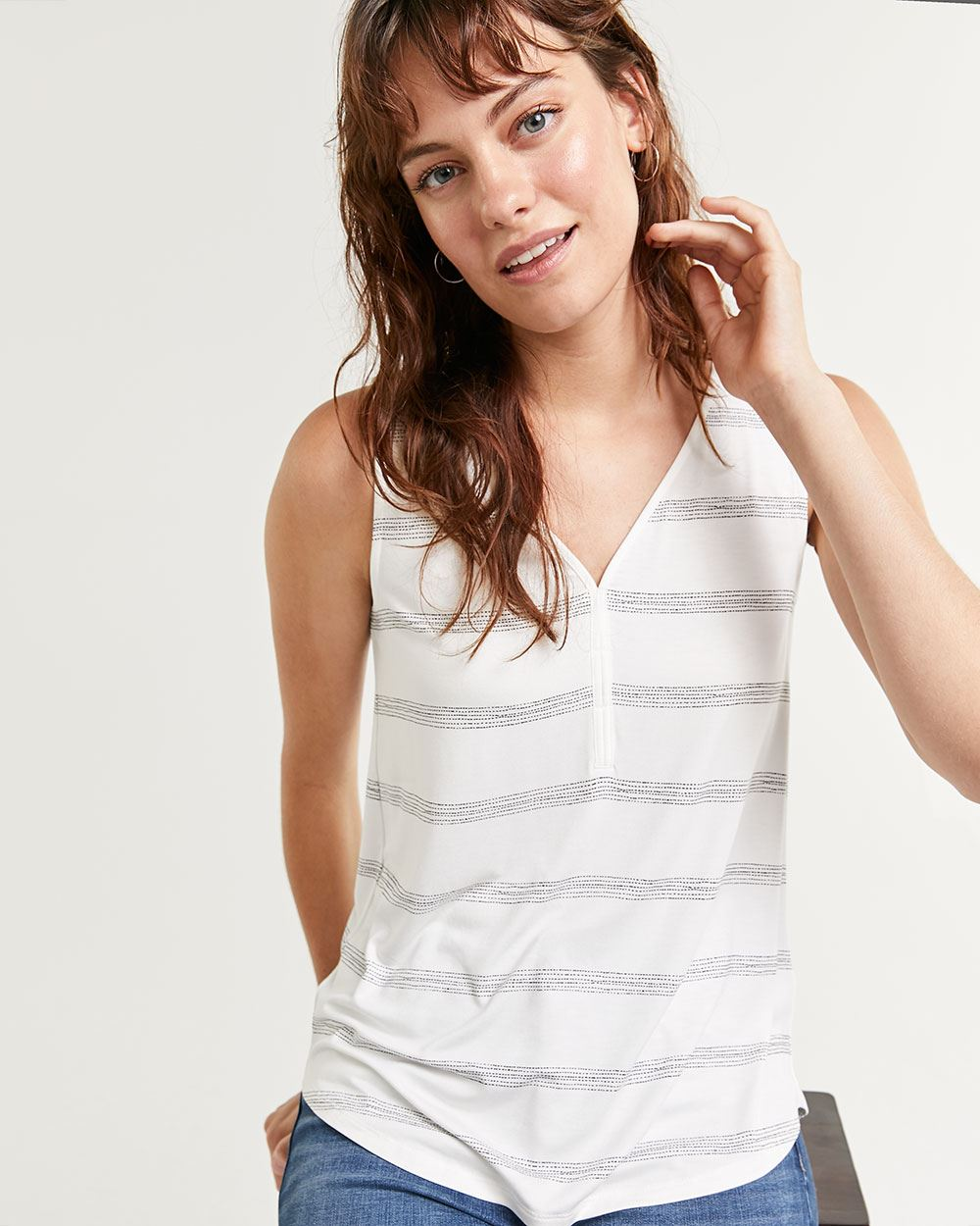 Printed Cami with Crepe Trim