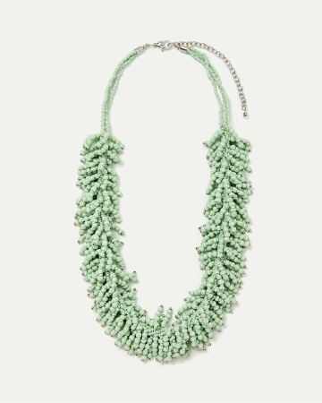 Statement Seed Bead Fringe Necklace