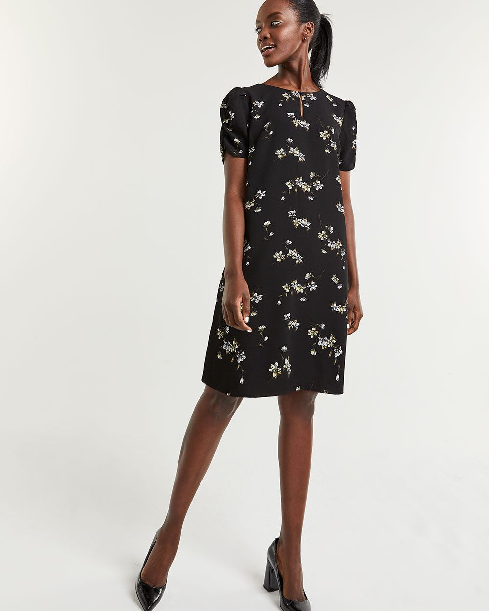 Printed Short Puffed Sleeve Dress