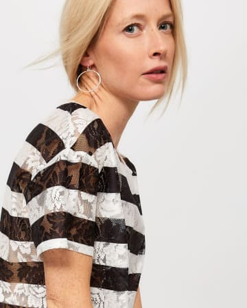 Lace Striped T-Shirt