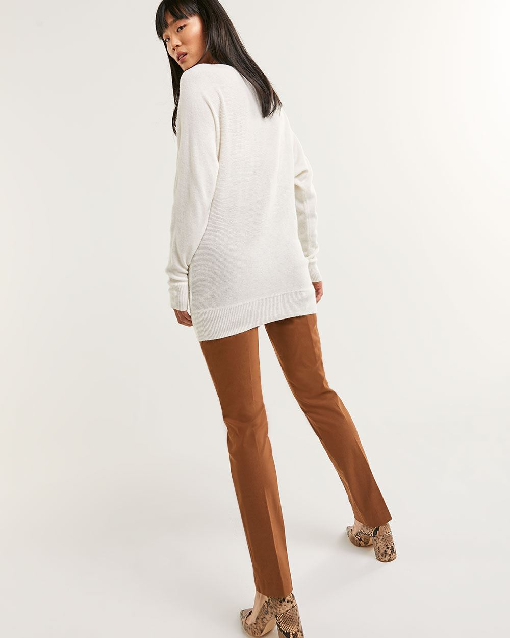 Long Dolman Sleeve Boat Neck Cashmere Blend Sweater