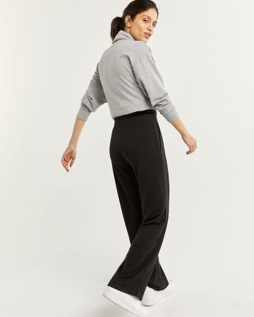 Hyba Black Wide Leg Pants with Pockets