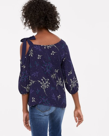 One Cold-Shoulder Blouse with ¾ sleeve