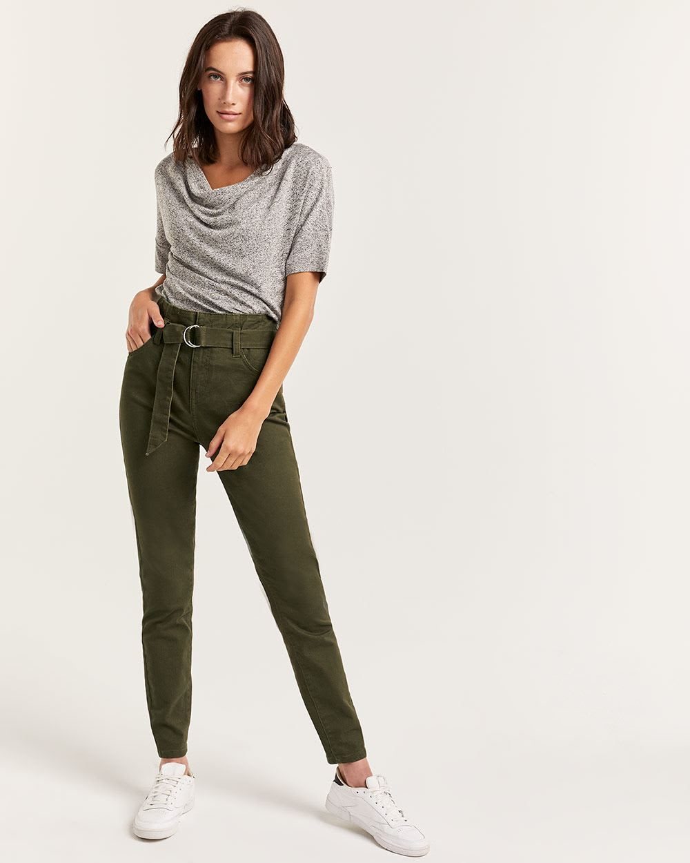 Belted Paperbag Waist High Rise Skinny Jeans