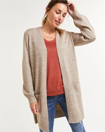 Long Balloon Sleeve Cardigan with Pockets