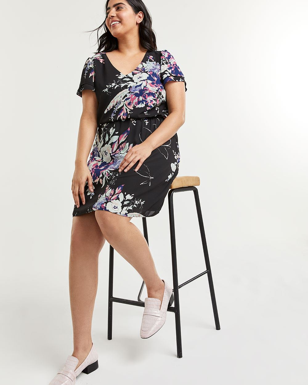 Swing Printed Dress with Elastic Waist