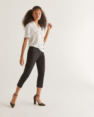 Cotton Slim Leg Cropped Pants - Petite