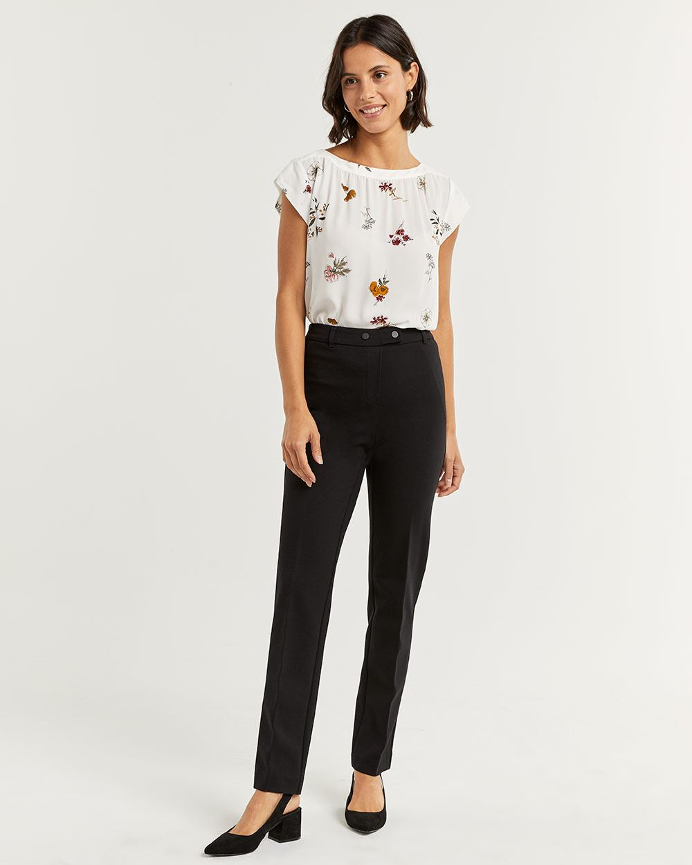 The Modern Stretch Black Straight Pull On Pants - Tall