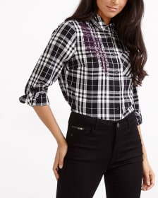 Embroidered Plaid Shirt