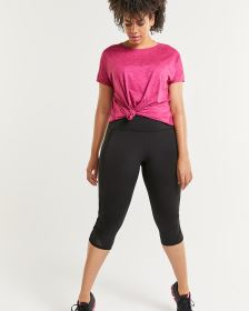 Black Capri Leggings with Mesh Inserts Hyba