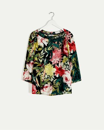 3/4 Sleeve Boat Neck Printed Blouse with Fagoting