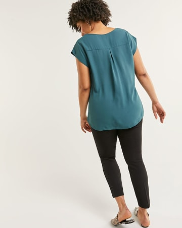 Cap Sleeve Scoop Neck Blouse R Essentials