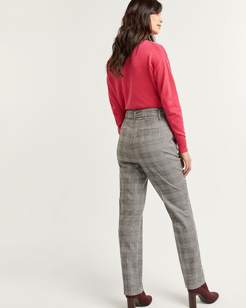 Plaid Straight Pants with Sash - Tall