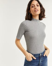 Short Sleeve Mock Neck Top