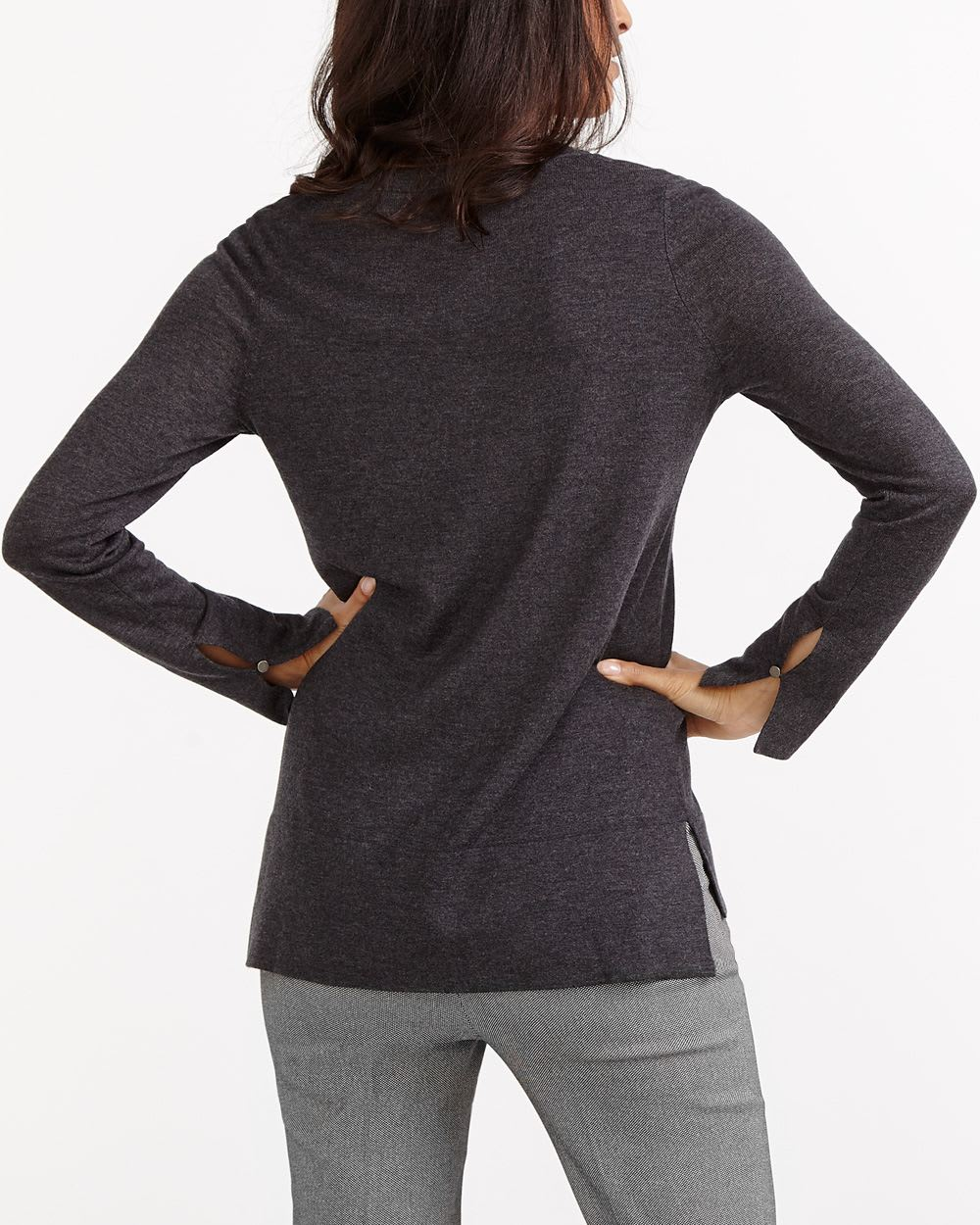 R Essentials Solid High-Low Hem V-Neck Sweater