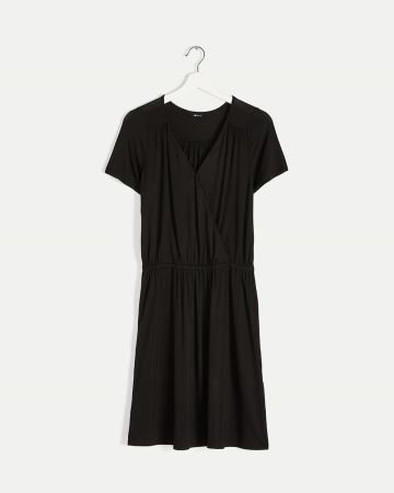 Faux Wrap Elastic Waist Dress