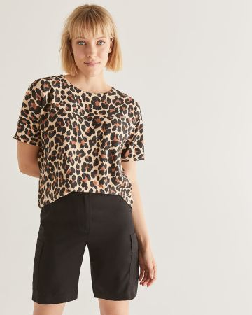 Leopard Print French Terry Tee