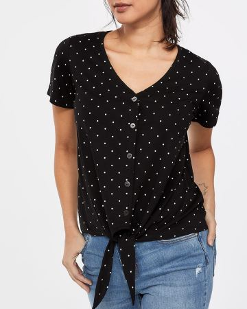 Petite Button Down Tee with Knot