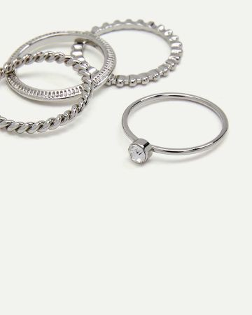 4-Piece Textured Rings