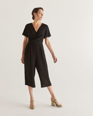 Black Wide Cropped Leg Twist Jumpsuit