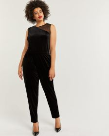 Sleeveless Velvet Jumpsuit with Mesh Insert
