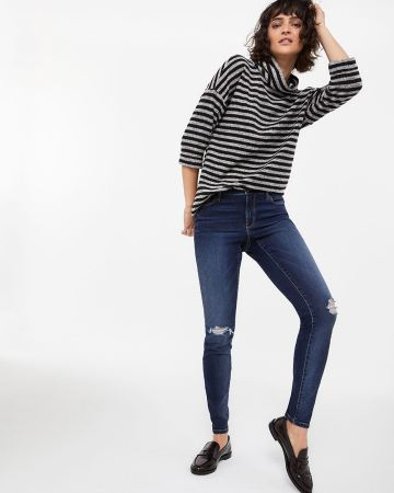Medium Wash Skinny Ripped Jeans