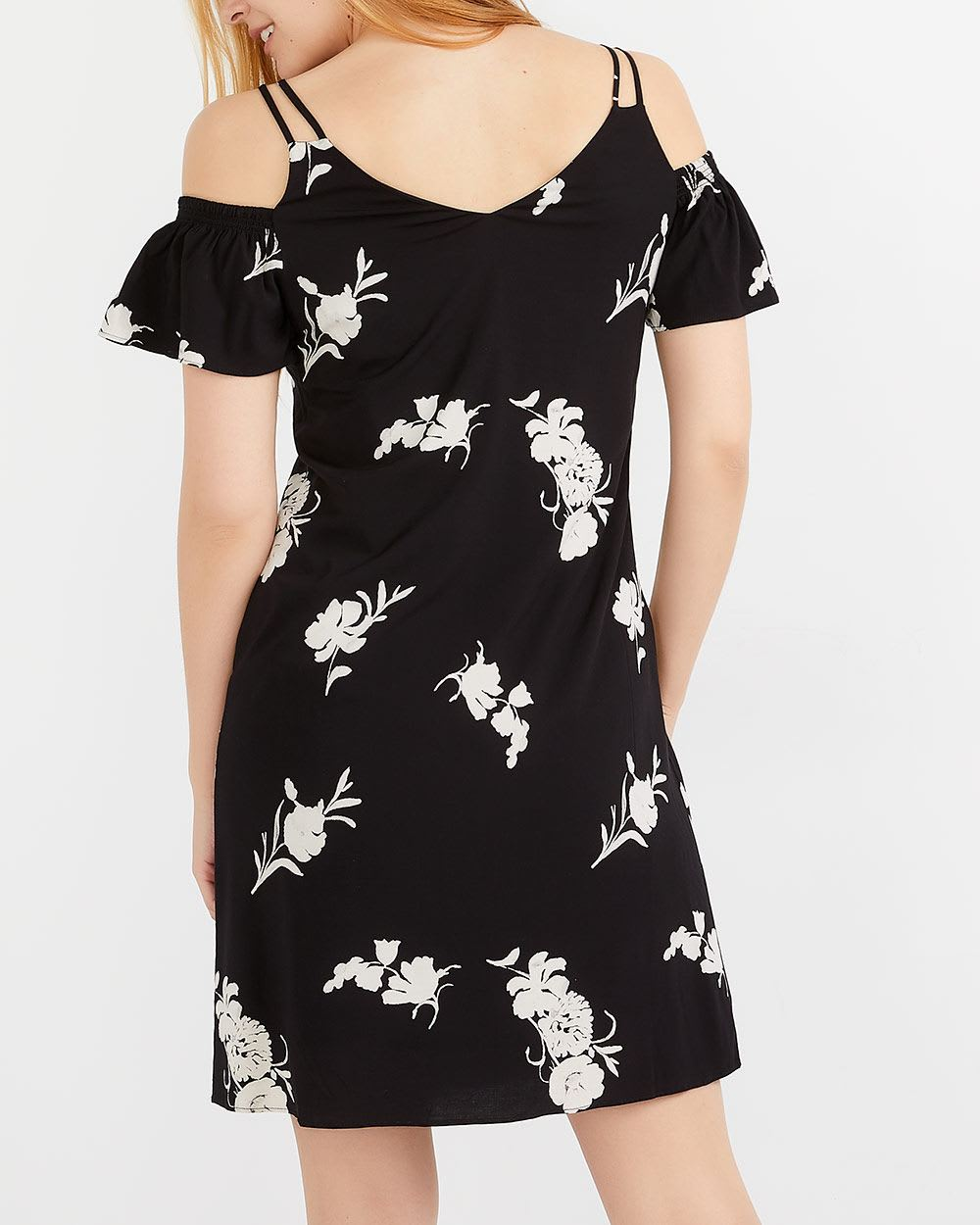 Cold-Shoulder Printed Dress