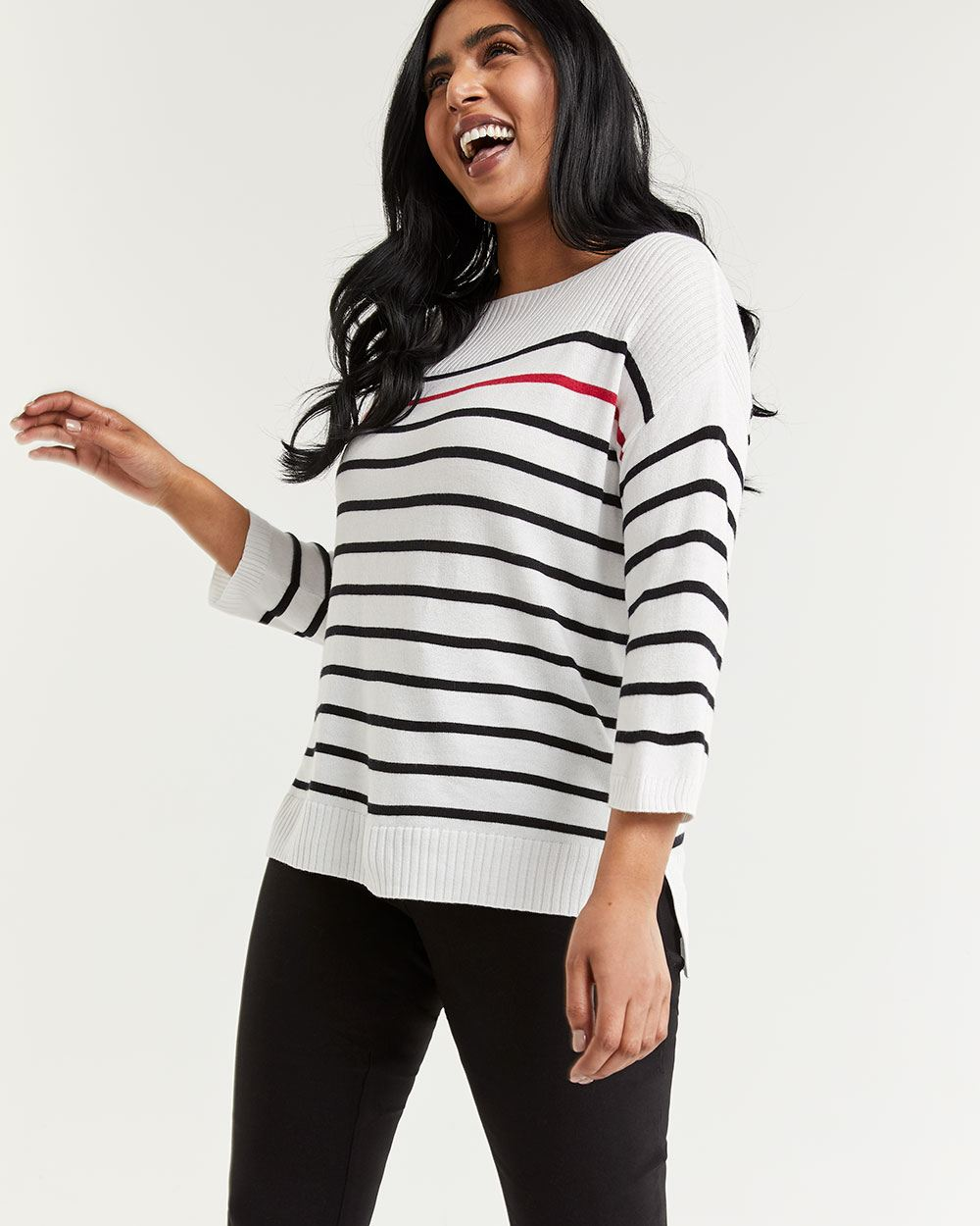Striped Boat Neck Sweater with Rib Stitch Details
