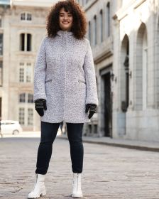 Hooded Wool-Blend Boucle Coat
