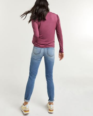 Long Sleeve Tee with Shirring at Shoulders