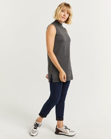 Sleeveless Mock Neck Tunic